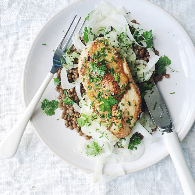 Chicken Breast With Lentils, Shaved Fennel, Lemon, & Chives