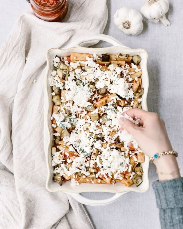 Roasted Eggplant And Basil Baked Ziti