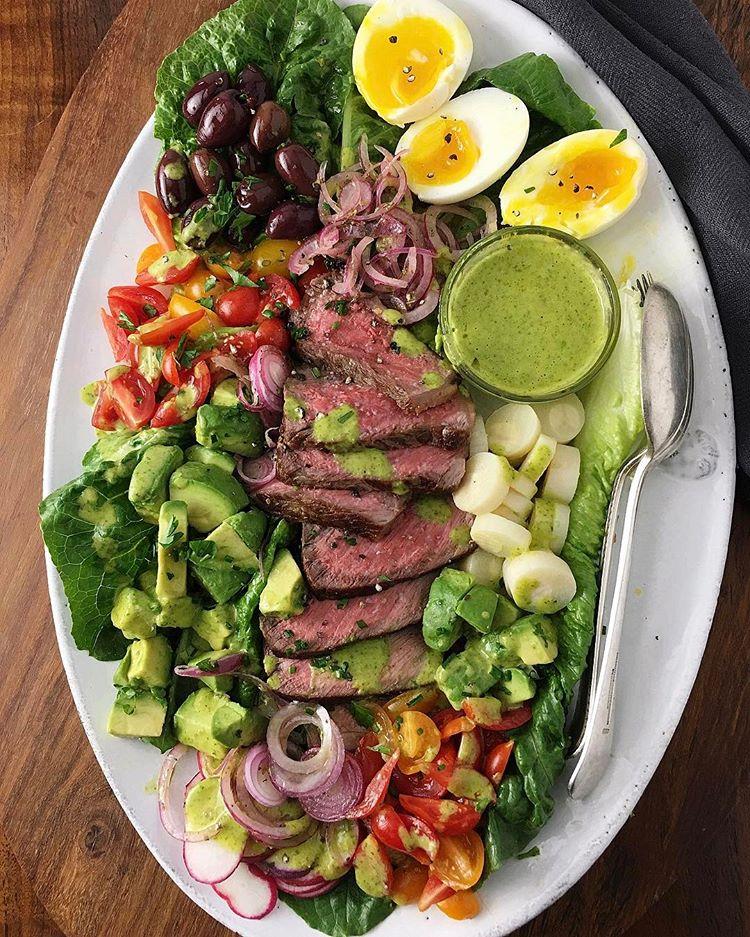 Steak Salad With Soft-boiled Eggs & Coconut Mango Lime Cilantro Vinaigrette