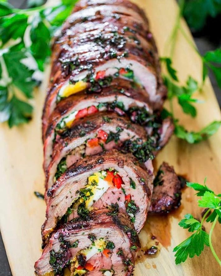 Stuffed Flank Steak With Garlic And Herbs