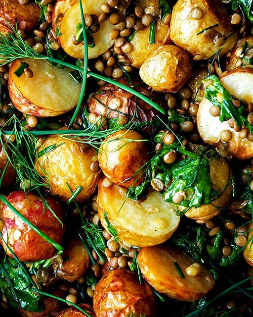 Roasted Potato & Dill Salad With Lentils And Herb Dressing