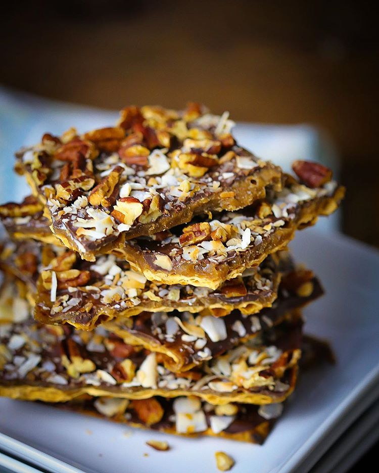 Toffee, Coconut & Pecan Matzo Brittle