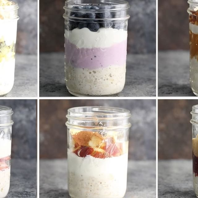 Easy overnight oats SIX WAYS! Just soak your oats overnight for the quickest breakfast all week…