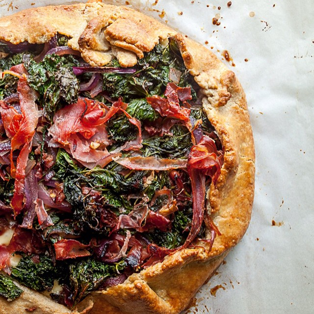 Kale, Prosciutto & Jarlsberg Galette With Mustard Greens, Arugula & Red Pepper Flakes