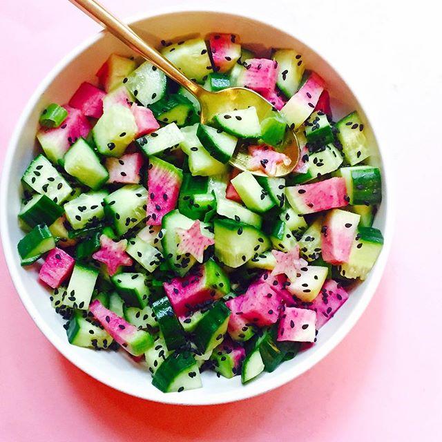 Watermelon Radish, Black Sesame and Cucumber Salad