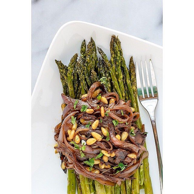 Roasted Spring Asparagus With Caramelized Onions And Pine Nuts