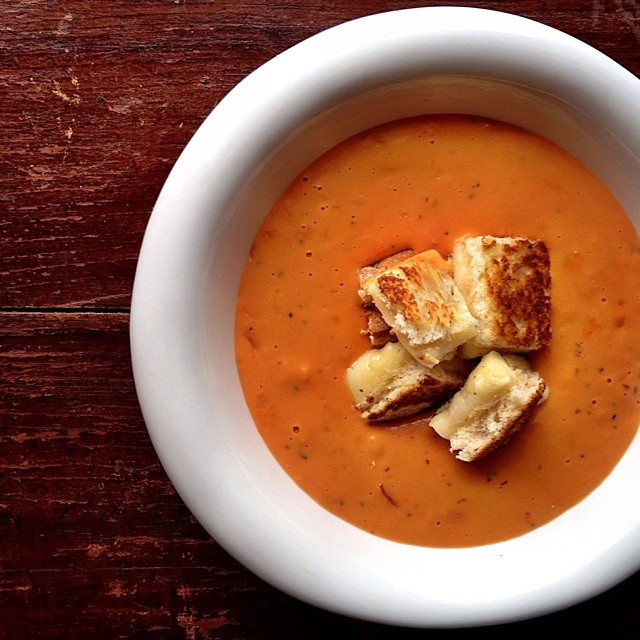 Tomato Basil Soup With Grilled Cheese Croutons