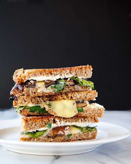 Baby Spinach And Mushroom Grilled Cheese