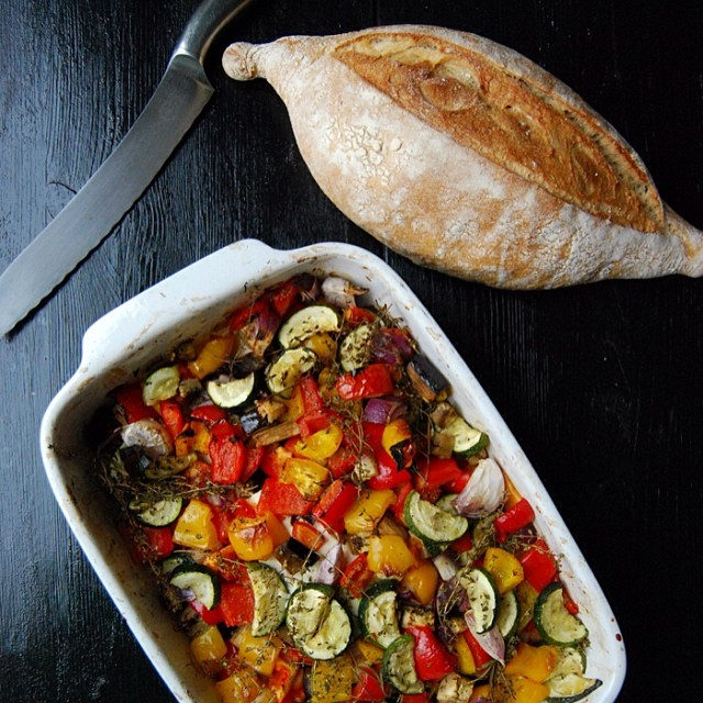 Mediterranean Zucchini, Aubergine & Tomato Casserole With Feta & Bell Peppers