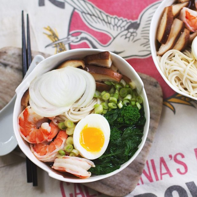 Saimin With Shrimp And Vegetables