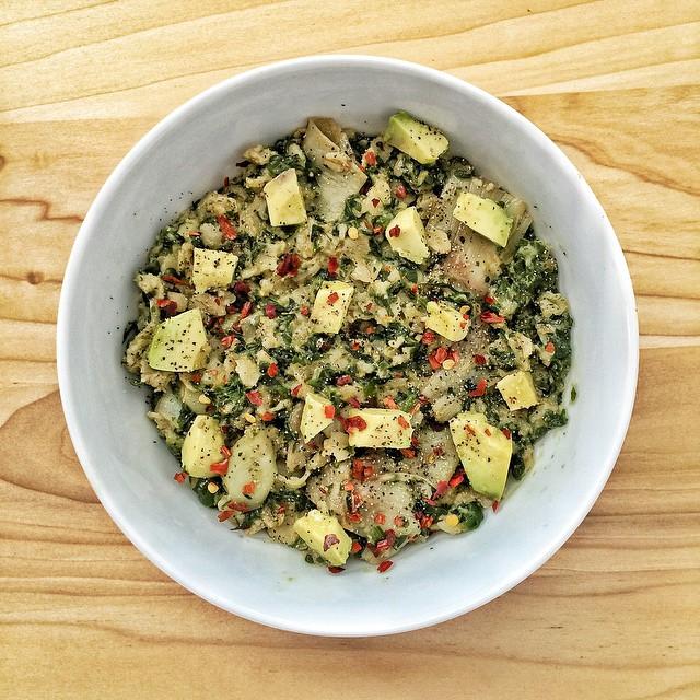 Spinach, Artichoke And Avocado Savory Oatmeal