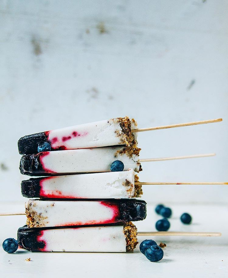 Blueberry Coconut Cheesecake Popsicles