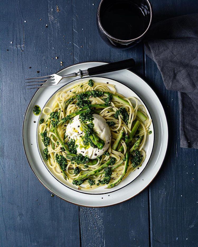 Spaghetti with Asparagus, Burrata and Ramp Pesto