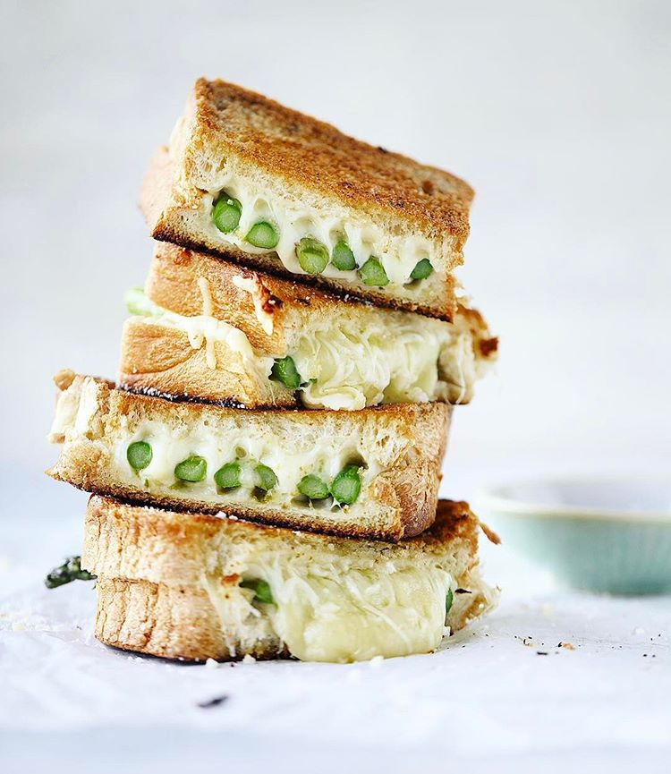 your lunch today = this asparagus grilled cheese that is up! dijon spread, brown butter and a…