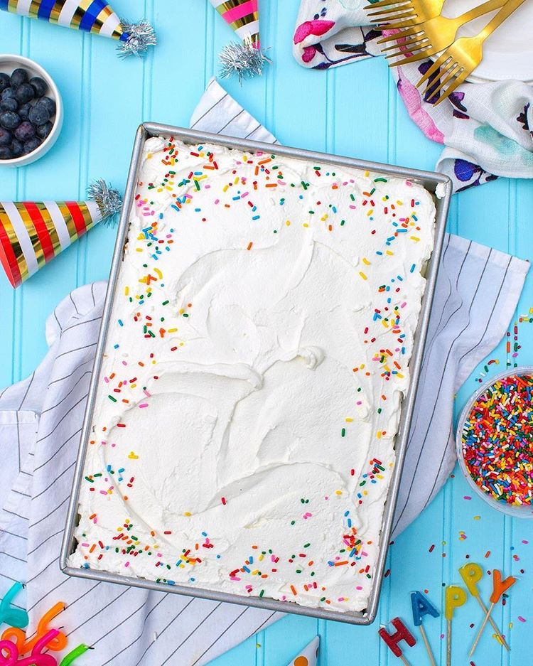 Blueberry And Custard Sheet Cake With Whipped Cream Frosting