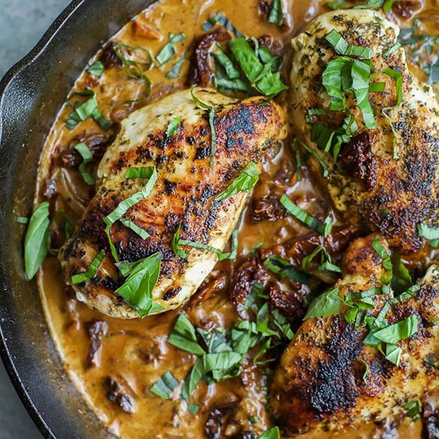 Chicken In Sun Dried Tomato Coconut Cream Sauce