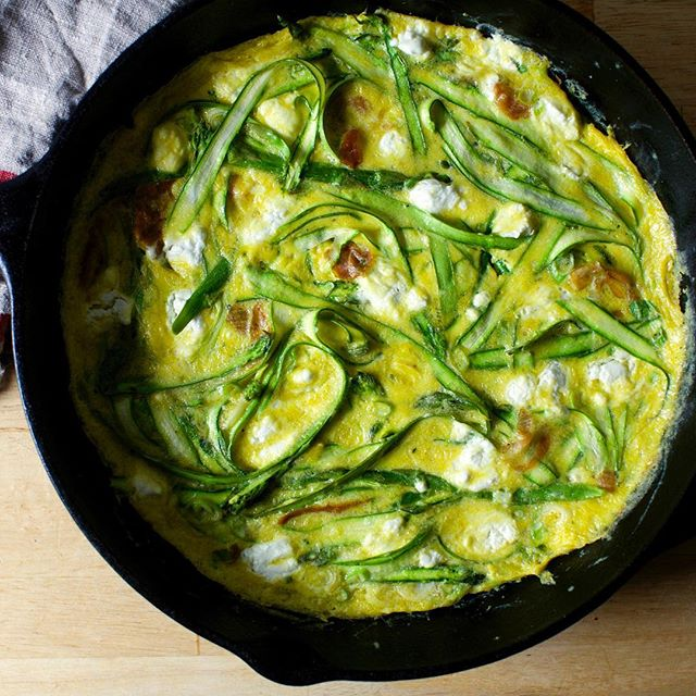 Ribboned asparagus (requires no trimming or parcooking), crumbled goat cheese (requires no grating)…