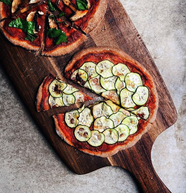 Zucchini And Mushroom Flat Bread Pizza