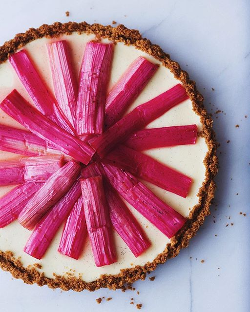 Roasted Rhubarb Vanilla Bean Cheesecake Tart