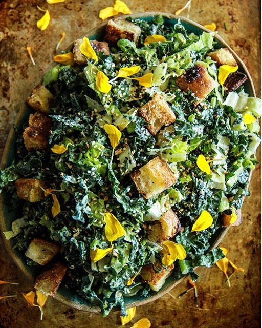 Kale Caesar Salad With Tahini Caesar Dressing