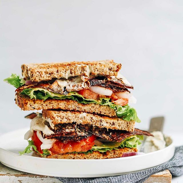 Eggplant Bacon, Lettuce And Tomato Sandwich