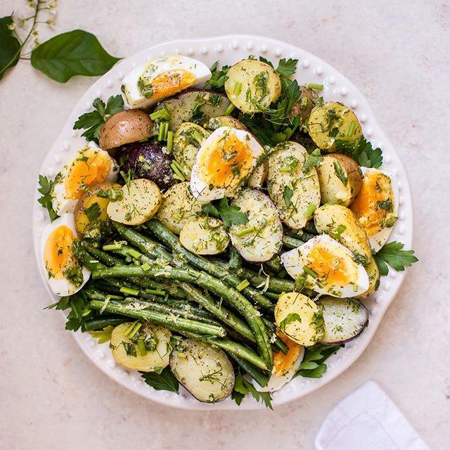 Potato And Green Bean Salad With Soft-boiled Eggs And Lemon Herb Vinaigrette