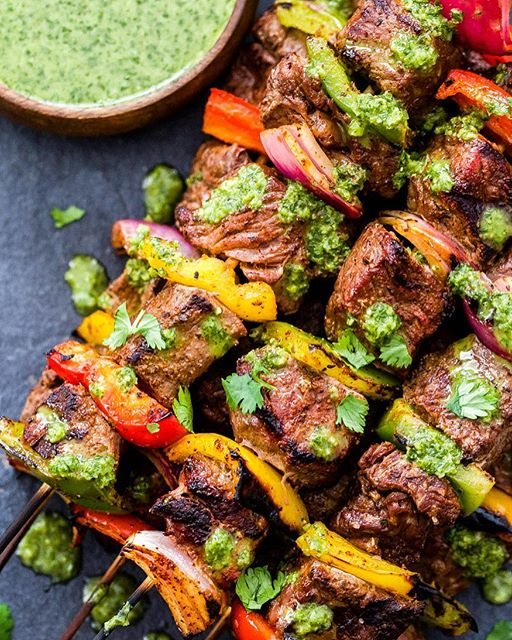 Steak Fajita Skewers With Cilantro Chimichurri Sauce
