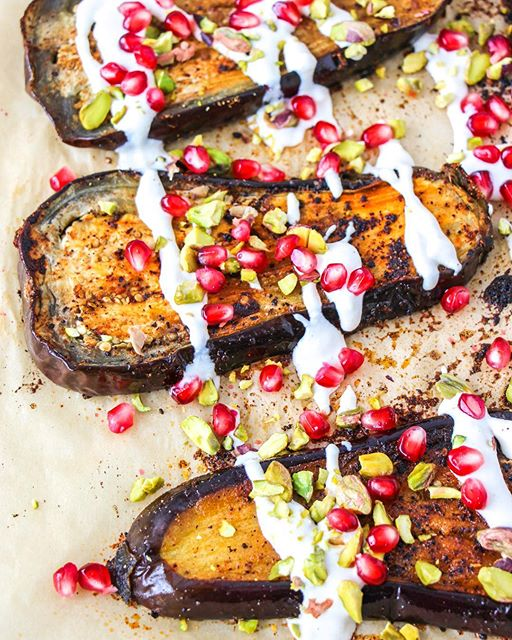Roasted Eggplant With Tahini Sauce, Pistachios & Pomegranate Seeds