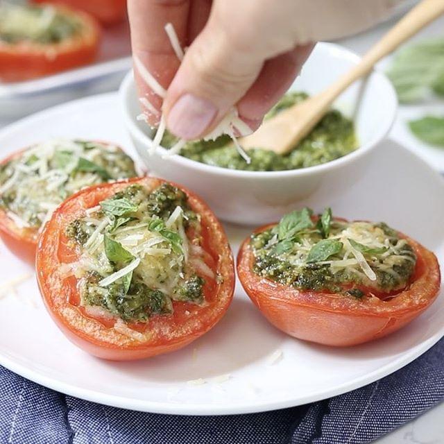 Roasted Tomatoes With Pesto Parmesan Gina Homolka