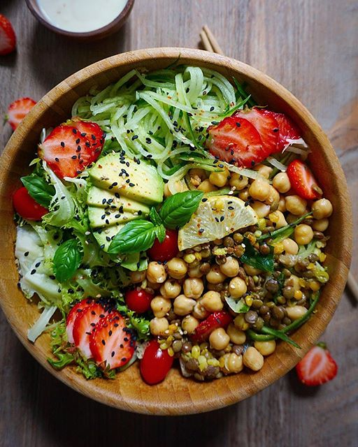 Chickpea, Lentil & Avocado Bowl With Coconut Lemon Dressing
