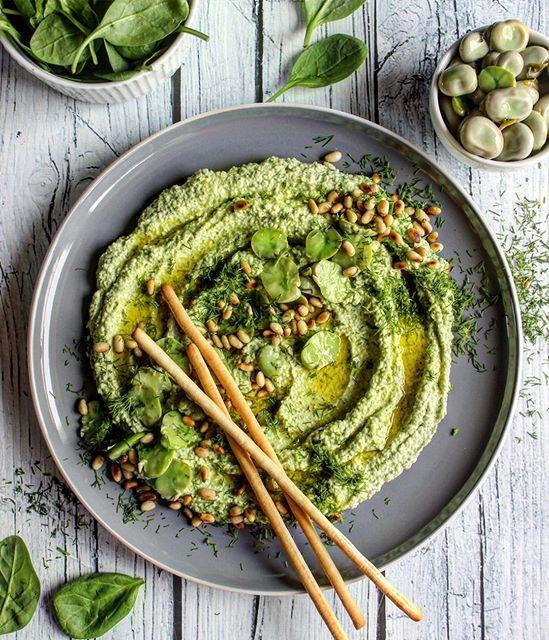 Fava Bean Hummus With Spinach, Feta & Dill