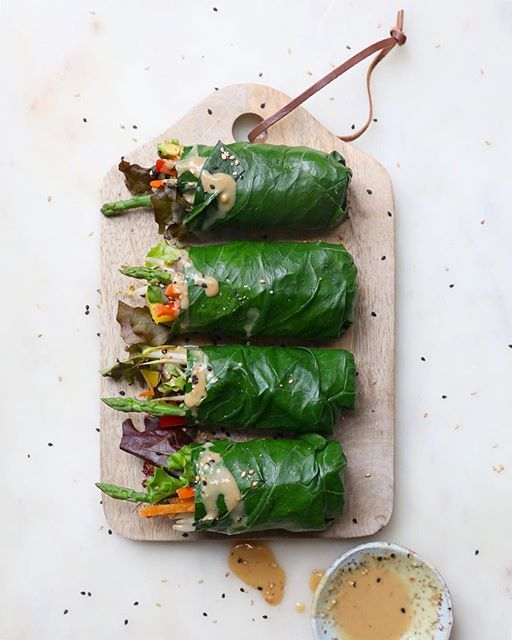 Collard Green Veggie Rolls With Spicy Tahini Miso Dip