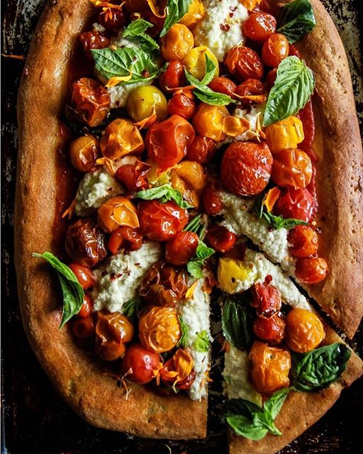 Pizza With Roasted Tomatoes, Almond Ricotta And Basil ...