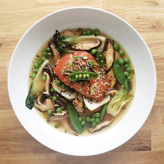 Ginger Miso Soup With Salmon