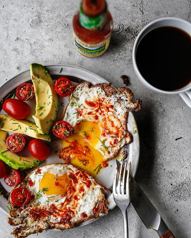 sunny side eggs crispy with avocado & tomato & coffee !