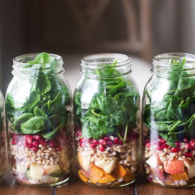Spinach Harvest Mason Jar Salad With Honey Orange Vinaigrette