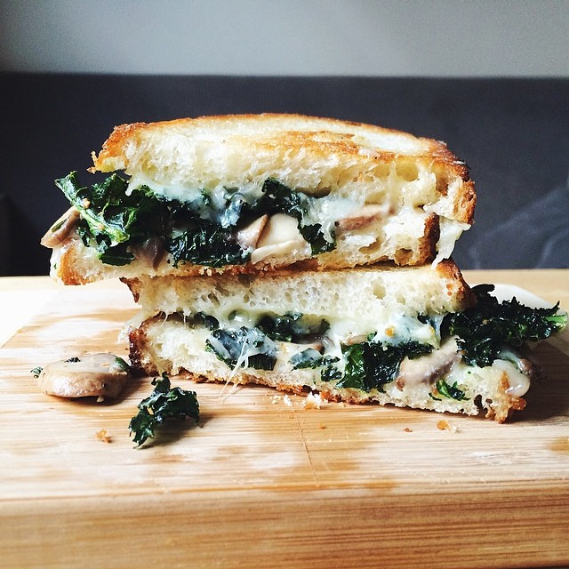 Gruyere, Garlic-kale Chip, & Rosemary Mushroom Grilled Cheese
