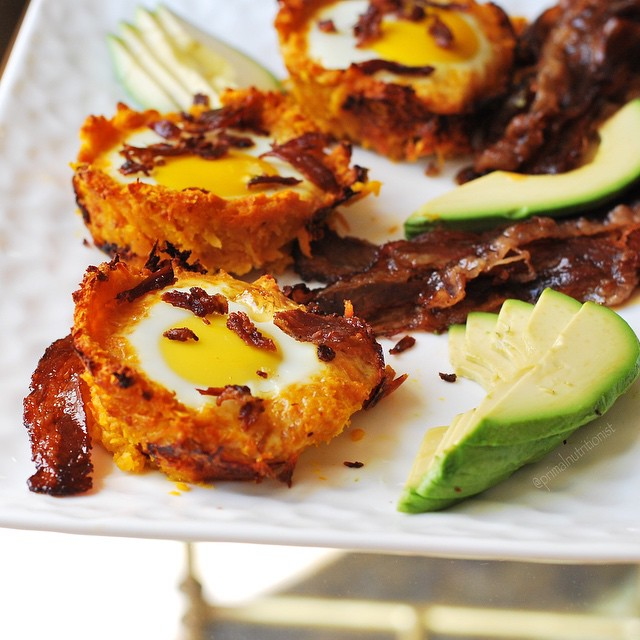 Kosher Sweet Potato And Apple Egg Nest With Grass Fed Beef Bacon And Avocdao