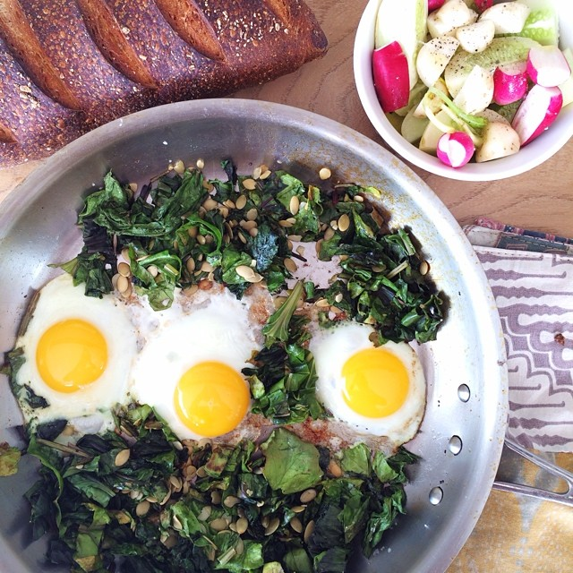Sunny Side Up Eggs With Beet Greens And Side Salad