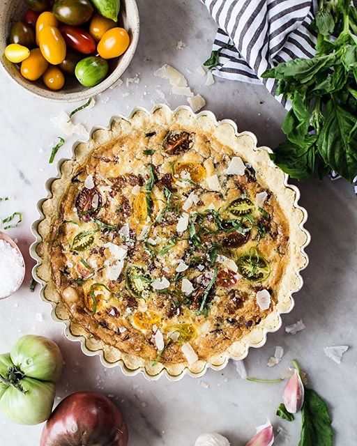 Sweet Onion And Heirloom Tomato Quiche