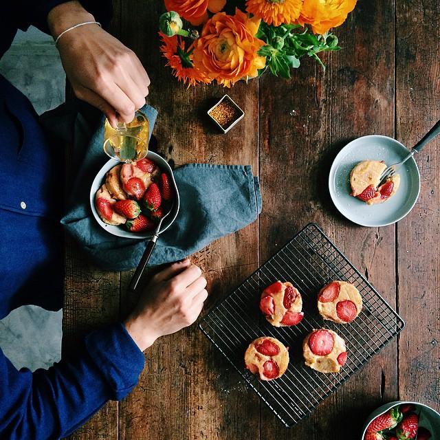 Polenta Cakes On Strawberries