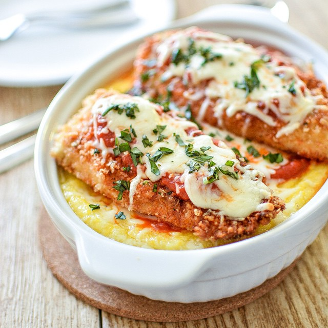 Baked Polenta With Chicken Parmesan & Mozarella