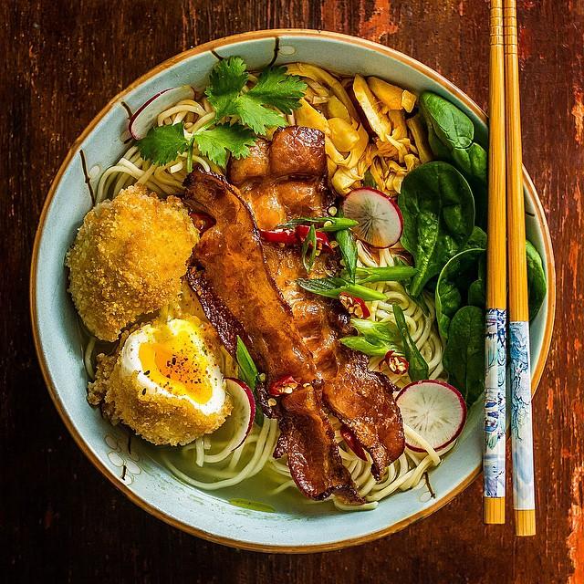 Bacon & Egg Ramen Noodle Bowl