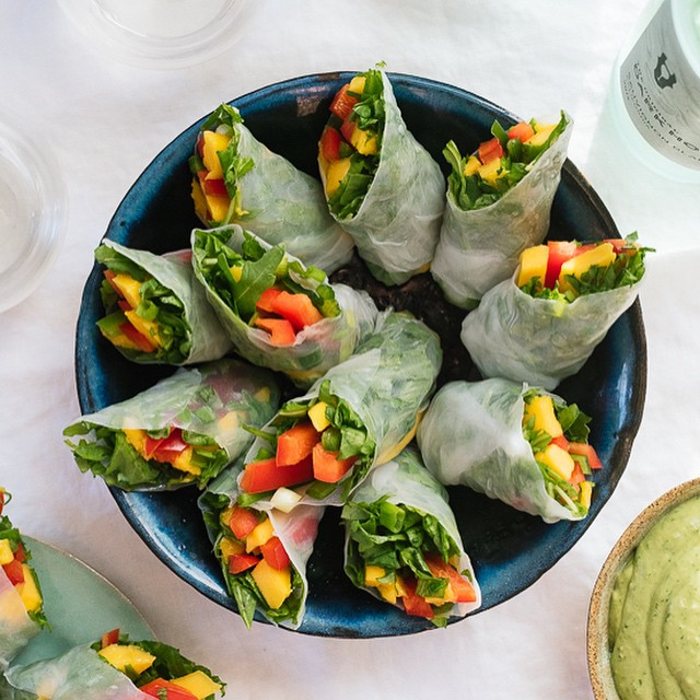 Mango Spring Rolls With Creamy Avocado Dipping Sauce
