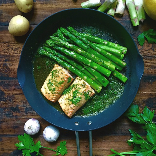 Salmon With Roasted Asparagus And Wasabi Herb Butter