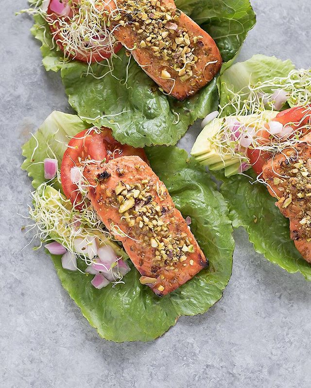 Pistachio Crusted Salmon Lettuce Wraps