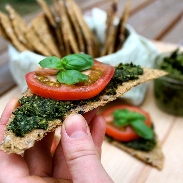 Wild Nettle Pesto & Italian Flaxseed Crackers