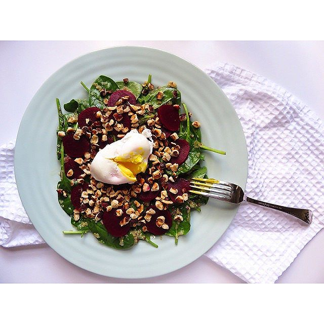 Beet, Spinach, Quinoa, And Egg Salad