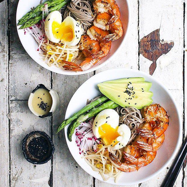 Egg, Avocado & Shrimp Soba Noodle Bowl With Miso Dressing & Radishes