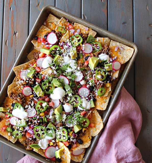 Loaded Beef, Corn And Black Bean Nachos